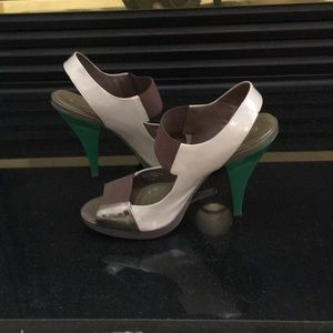 Open toe high heeled multi colored shoes